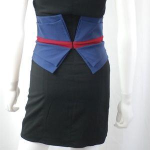 NWOT Black & Navy Waist Cincher Dress Sz S